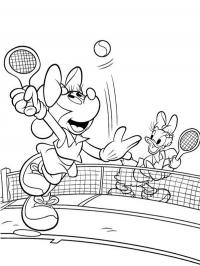 Minnie Mouse en Katrien tennissen