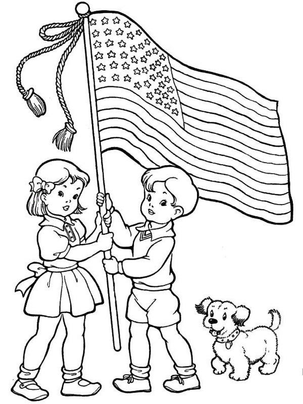 kleurplaat amerikaanse vlag omhoog houden
