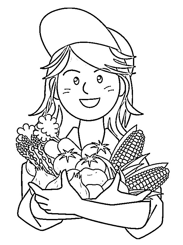 kleurplaat meisje met groente leukekleurplaten nl