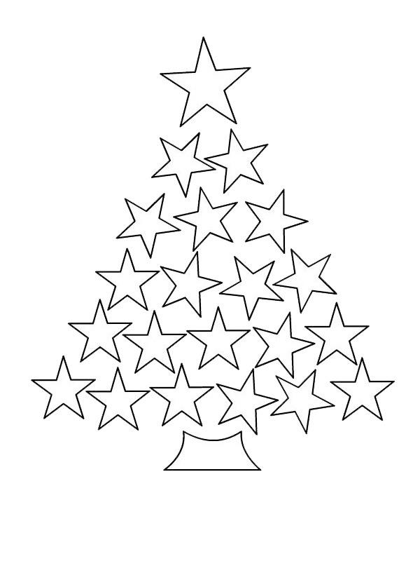 kleurplaat sterren kerstboom leukekleurplaten nl