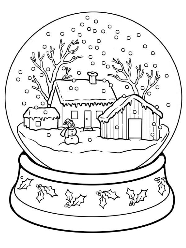 kleurplaat winter sneeuwbol leukekleurplaten nl